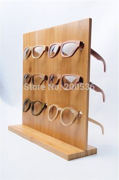 bamboo glasses display rack, Sunglasses Glasses Display Stand 6 pairs of glasses… Wooden Shelves, Glass Shelves, Display Shelves, Wood Shelf, Frame Display, Wall Shelves, Regal Display, Displays, Sunglasses Women Designer