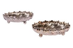 """PAIR OF TIFFANY MAKERS SILVERED SOLDERED TRAYS Item #: 27330 $125.00  Measures 5"""" diameter, 1 1/2"""" high with scalloped edge with bun feet. Silverplate.  One is monogrammed."""