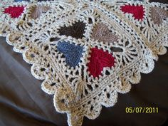 Cozy Hearts Afghan AKA Lacy Valentine Afghan. Link leads to the Pdf pattern which appeared in February 1997 Crochet With Heart magazine, page 16. Also in Crochet With Heart: Best Loved Afghans and available free at this site..