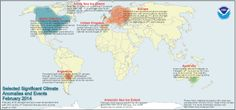 February 2014 Selected Climate Anomalies and Events Map