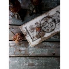 Vintage Rustic LOVE Sign. Upcycled Reclaimed Salvage Decoupaged Sign. ($22) ❤ liked on Polyvore featuring home and home decor