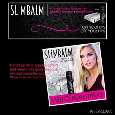 Patent pending revolutionary product!  Appetite control and weight loss balm utilizing essential oils! Www.celia.slimbalm.com
