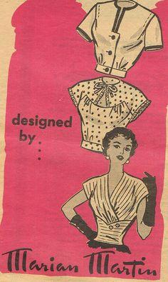 soirée des années 1940 chemisiers Marian Martin 9209 Misses Midriff Blouse trois Styles buste 32 correspondance couture Vintage modèle RARE