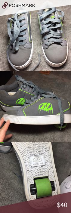 Boys Heelys Skate Shoes Single Wheels Boys Heelys One Wheel Skate Shoes. Gray Suede with Lime Green Trim and Wheel. USA Sizing Youth 4. Take off the wheel and can be used as regular shoes. Key to take off the wheels will be shipped with the skates. Mint condition considering my son is so active.  These skates are so much fun. Heelys Other
