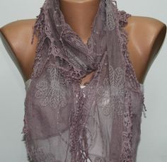 Dark Salmon Shawl Scarf  Headband Necklace Cowl with by fatwoman, $19.00
