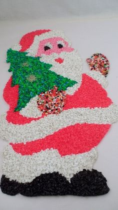Vintage Holiday Christmas Popcorn Santa w Tree Wall Decoration Melted Plastic