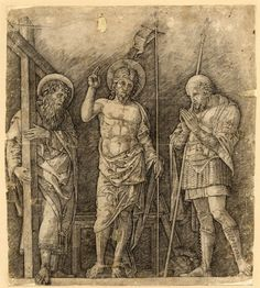 The risen Christ between St Andrew and St Longinus; a contemporary copy of the engraving by Mantegna  Engraving