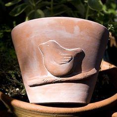 Terra Cotta Bird Planter by danceswithclay on Etsy.