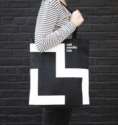 Visual identity and tote bag for MIT Media Lab by Pentagram.