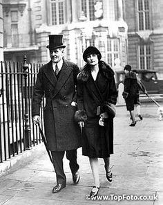Hon. Nancy Mitford with Mr Milnes Gaskell  London 1939 the coat to die for