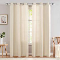 jinchan Burlap Linen Textured Curtains for Living Room Grommet Top 84 inch Length Light Filtering Window Curtain Panels for Bedroom 2 Panels Beige