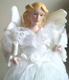 Vintage Christmas Angel Tree Topper in White Lace by naturepoet