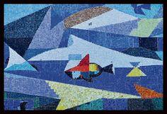 Alejandro Obregon, Tierra, Mar, Aire, mosaic mural (detail) 9.00 x 6.00 mts Mezrahi Building facade, Barranquilla, Colombia