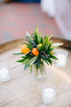 Small arrangements: http://www.stylemepretty.com/north-carolina-weddings/wilmington-nc/2015/06/12/courtyards-cobbletones-rustic-copper-engagement-wedding-inspiration/ | Photography: Millie Holloman - http://www.millieholloman.com/