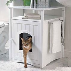 Kitty Washroom  Furniture disguises the litter box.