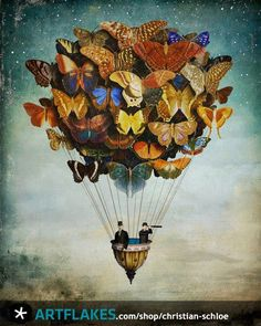 Chilean Visionary painter Christian Schloe work includes digital art, painting, illustration and photography. Art And Illustration, Butterfly Illustration, Balloon Illustration, Butterfly Balloons, Butterfly Art, Butterfly Mobile, Butterfly Watercolor, Vintage Butterfly, Fantasy Kunst