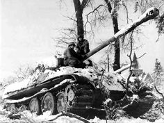 A frozen German Panther tank, Battle of the Bulge.