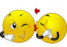 Mascot Illustration Of A Female Smiley Kissing A Male Smiley Stock Photo, Picture And Royalty Free Image. Smiley Emoji, Love Smiley, Emoji Love, Emoji Images, Emoji Pictures, Emoticon Faces, Smiley Faces, Naughty Emoji, Funny Emoticons