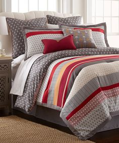 Look at this Red & Gray Tangiers Eight-Piece Comforter Set on #zulily today!