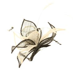 Wedding Fascinator Black Cream Leaf Sinamay