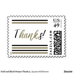 Gold and Black Stripes Thank you postage