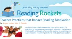 Using Concept-Oriented Reading Instruction (CORI) or practices to encourage engagement, educators can advance the breadth and depth of students' reading by explicitly and systematically nourishing students' motivations as readers. Reading Motivation, Intrinsic Motivation, Self Efficacy, Meta Analysis, Friendly Letter, Student Success, A Classroom, Reading Activities, Outlines