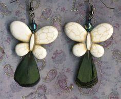 Butterfly Earrings  White Earrings with by RescuedOfferings #integritytt #vintageonetsy #epiconetsy
