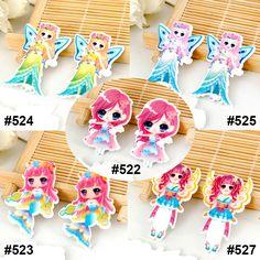 50 Pieces Mixed Cartoon Fairies Princess Flat Back Resins Kawaii Girls DIY Planar Resin Crafts for Home Decoration Accessories