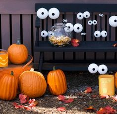 34 Scary Outdoor Halloween Decorations And Silhouette Ideas - attach the eyes to the trees