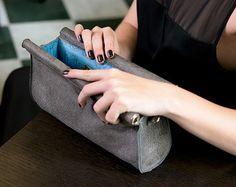 Leather Web Detail Wristlet Clutch in Gray Fabric by SalmiakStudio