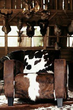 Cowhide beauty - hair on hide club chair - Via Sandy Bentley - #WesternHome