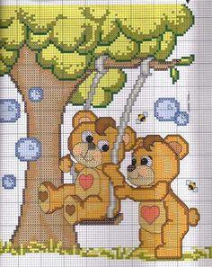 ours en peluche balançoire Bears, Dots, Needlepoint, Teddy Bear
