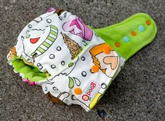 I Scream One-Size Fitted Diaper with Lime Cotton Velour by thegoodmama.com, via Flickr