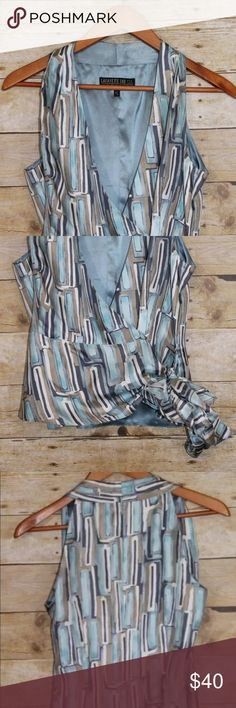 """Lafayette 148 New York Silk Tie Front Blouse Lafayette 148 New York Sleeveless Top Petite Size 6  Color: Blue/Silver Material: 100% Silk  Shoulder to Shoulder - 12"""" Armpit to Armpit - 18"""" Shirt Length - 22"""" Lafayette 148 New York Tops"""