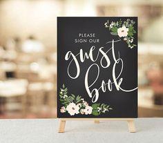 Please Sign our GuestBook, Rustic Wedding, Wedding Decor, Wedding Signage, Floral Wedding, Chalkboard Sign