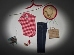 "GORGEOUS VINTAGE BARBIE OUTFIT ""PICNIC SET #967 W/HTF FISHING POLE"