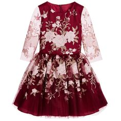 David Charles Burgundy Red & Pink Embroidered Tulle Dress at Childrensalon.com