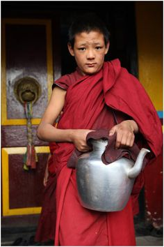 """Young Monk at Monastery in Darjeeling  India Travel Photography """"Monk at Yiga Choling Monastery Ghoom"""" Darjiling.006 by Hans Hendriksen by Hans Hendriksen Travel Photography on Flickr"""