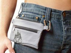 Grey bike belt bag Vegan PRINT screen Mountain belt bag cell phone covers Bicycle Bike by SKmodell on Etsy