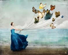 """Wonderland"" Picture by Christian Schloe posters, art prints, canvas prints, greeting cards or gallery prints. Find more Picture art prints and posters in the ARTFLAKES shop. Art And Illustration, Digital Painter, Digital Art, Canvas Prints, Art Prints, Butterfly Art, Butterfly Balloons, Butterfly Images, Dragonfly Art"