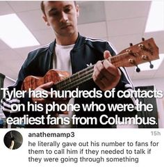 Tyler gave his number in the beginning of their band, so when people where feeling down they could talk to him