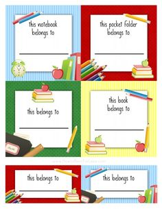 Free Back To School Book Labels For Kids Kids School Labels intended for Book Label Template Free - Professional Templates Ideas Printable Labels, Free Printables, Facts About School, Notebook Labels, Kids Labels, Labels Free, School Labels, Label Templates, School Supplies