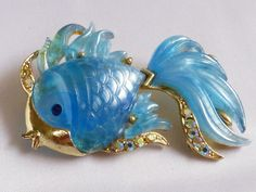 VTG Hattie Carnegie pearly Blue Marbleized Lucite Crystal Gold Fish Pin Brooch | eBay