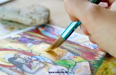 """Creating greeting card """" A New Life"""". By illustrator and painter Lone Aabrink ( www.aabrink.dk )"""