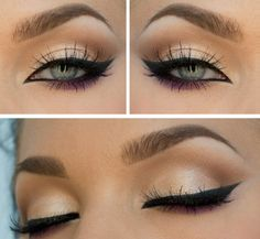 Gold and purple eyeshadow with black eyeliner.