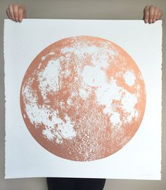Copper Moon Print Square 22x22 large screenprint by alittlelark
