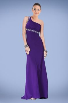 The figure-flattering A-line prom dress with one-shoulder strap combined with the back has ruched bodice adorned with exquisite crystal embellishment. Description from dressale.com. I searched for this on bing.com/images