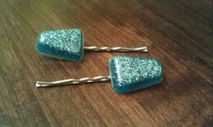 Teal Resin Glitter Hair Clips by infamousjamie on Etsy, $5.00