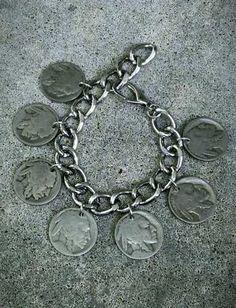 Buffalo Indian Nickel Vintage Coin Jewelry Men Women Link Bracelet Silver Charm | eBay
