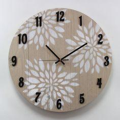 Reloj de pared madera serigrafía hojas manual